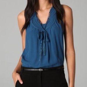 Diane Von Furstenberg Parlian blouse teal ties 4